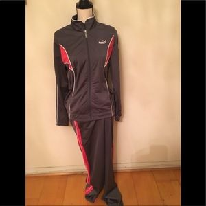 Puma track suit grey and pink